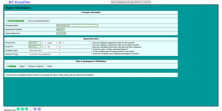 screen shot of first form page