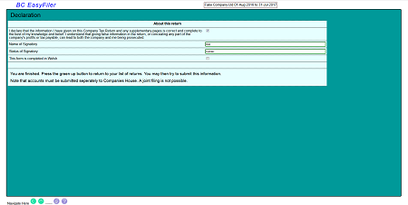 screen shot of last form page